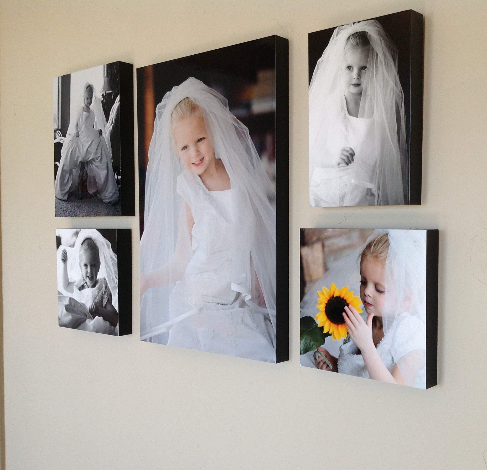 wall decor little girl in moms wedding dress mom's wedding dress