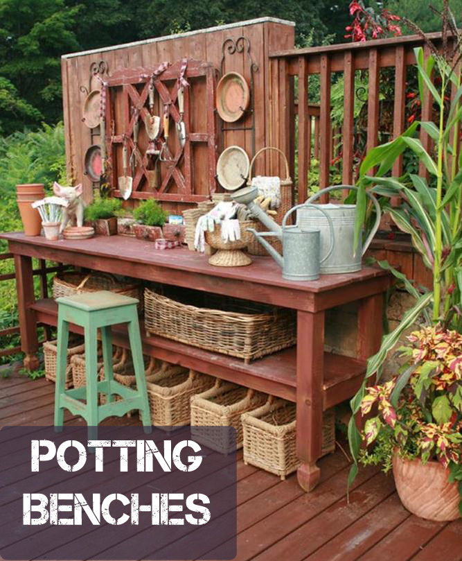 Potting table outdoors pinterest for Garden potting bench ideas