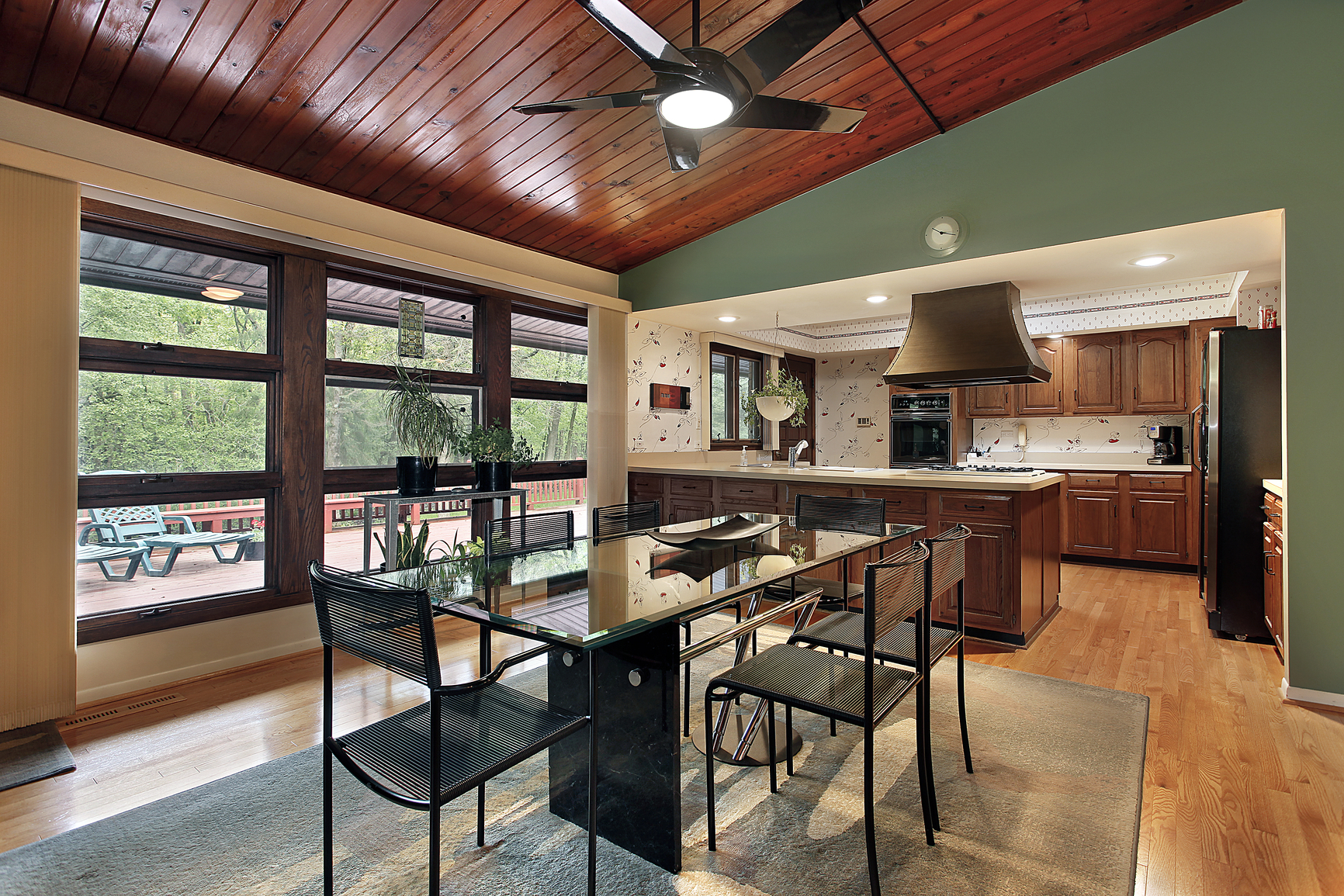 Superb img of Dining room with cherry wood ceiling panels with #926239 color and 1732x1155 pixels
